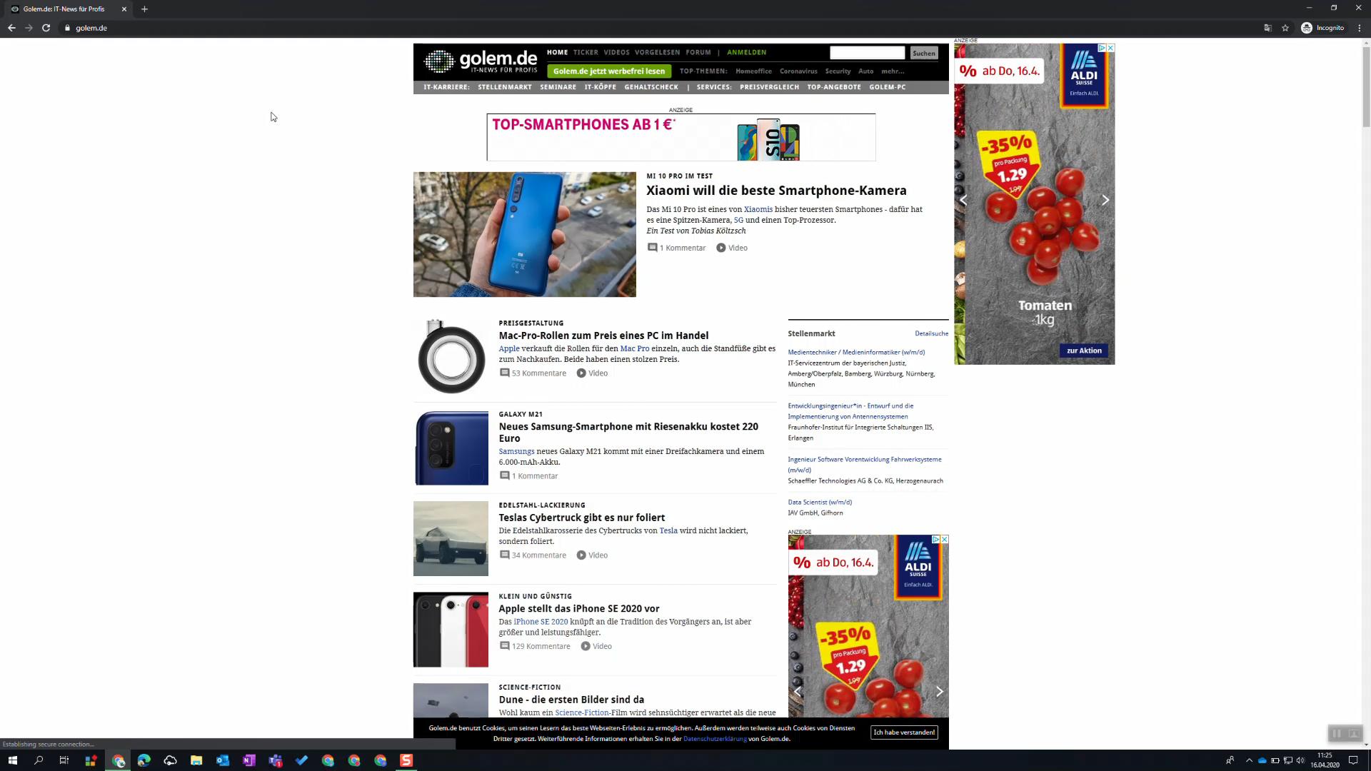 Golem.de mit Werbung