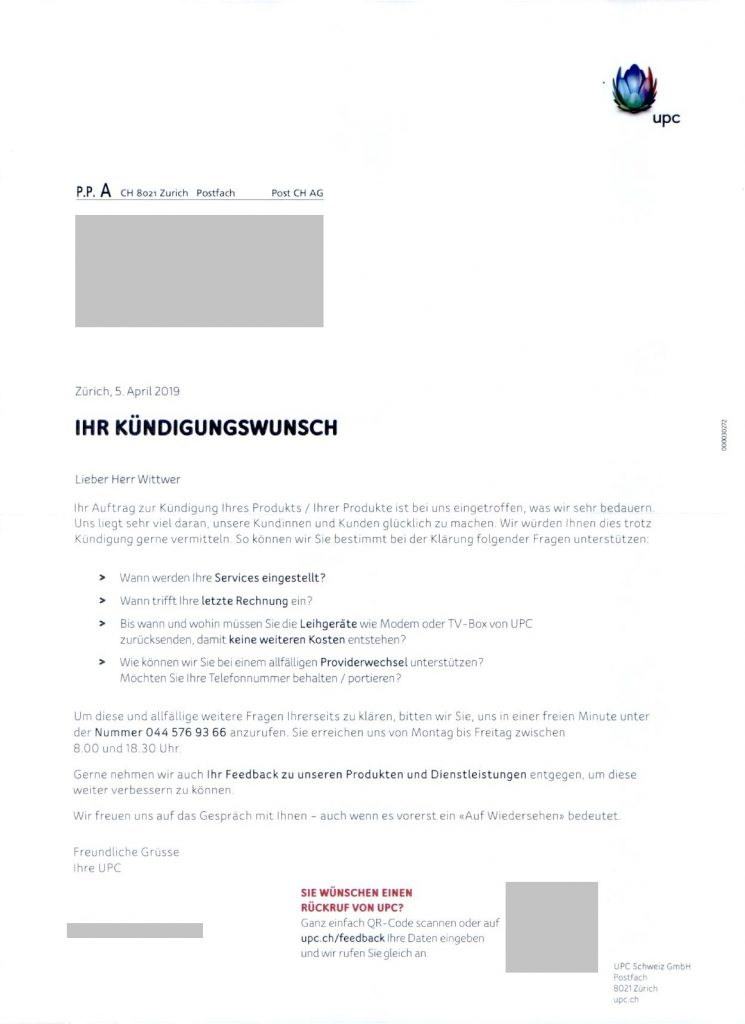 """Scann des UPC Schreiben """"Ihr Kündigungswunsch""""."""