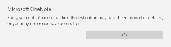 Sorry, we couldn't open that link. its destination may have been moved or deleted, or you may no longer have access to it.